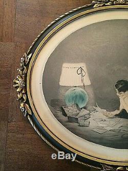 Beautiful Art Deco Women Burn The Letter Signed J. Hardy