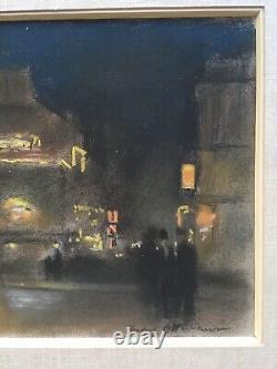 Beautiful Drawing Henri Ottmann Paris Pigalle Night 1900 Pastel Signé Cabaret Lautrec