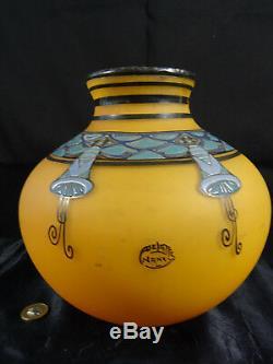 Beautiful Enamel Decoration Glass Paste Vase Signed Delatte Nancy Art Deco