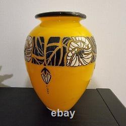 Beautiful Glass Paste Vase Enamelled Decoration Signed Delatte Nancy Art Deco