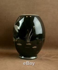 Beautiful Glass Vase Art Deco Black Dragonfly Decor Sign Hem Michael Hermann