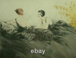 Beautiful Lithography Art Deco 2 Elegants Garconnes Fumant Signee Hardy Gout Icart