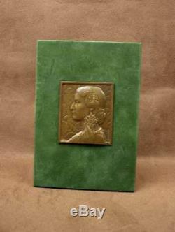 Beautiful Medaille Sculpture Bas Relief Bronze Woman Art Deco Signed Morlon