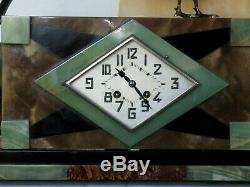 Beautiful Pendulum Bronze Fireplace Mantle Signed Danvin 3 Pieces Clock Art Deco