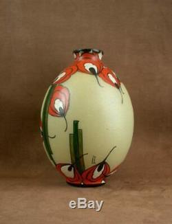 Beautiful Vase Art Deco Glass Glazed Signed Leune