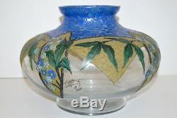 Beautiful Vase Art Deco Signed Adrien Mazoyer Enamelled Glass 1920/30 Enamel Twentieth