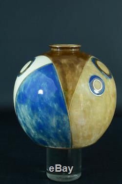 Beautiful Vase Cubist Enamel Signed Camille Tharaud Limoges Rare Art Deco