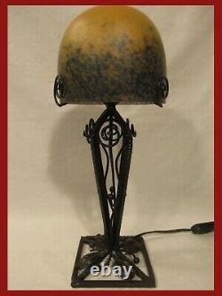 Big Lamp Signed Mulaty Paste Glass Art Deco Iron Ep Lamp Muller Degué