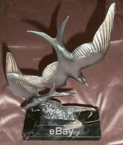 Birds Art Deco Silver Metal Portor Marble Base (crack) Sculptor M Font