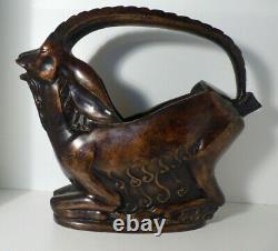Bronze Art Deco Former Pichet Antillope Signed Lyée De Belleau