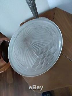 Bronze Art Deco Lamp Molded Glass Signed Schneider Genet Michon Muller
