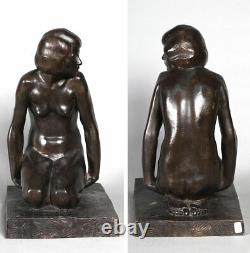 Bronze Art Deco, Marcel Bouraine 1886/1948, Naked Seated Around 1920