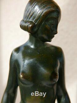Bronze Nude Woman Art Deco Signed 1930 Luc 22.5 CM Sculpture Chiparus The Glass