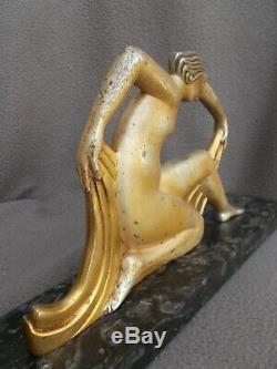 Bronze Sculpture Art Deco 1925 T. Horio Woman Nude Dancer Statue Nude Dancer