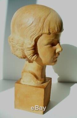 Bust Art Nouveau Art Deco Sculpture Girl Signed Gallo Terracotta 34 CM
