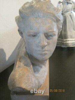 Bust De Jean Mermoz Tres Rare. Cuite Earth. Art Deco Annee 30 Signe Gibert