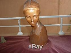 Bust Of Woman Art Deco Signed Wooden Gennarelli, H31cm, Very Good Condition