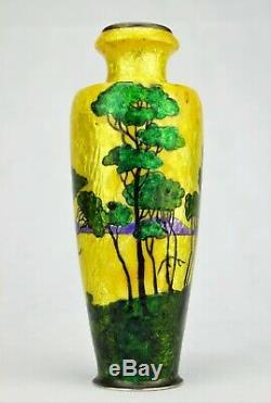 Camille Fauré Limoges Vase Enamelled Landscape Japonisant Art Deco Enamels Signed