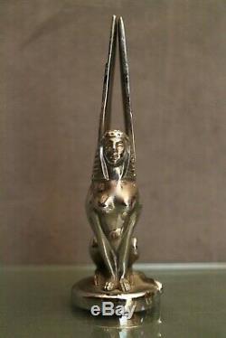 Carmaker Suère Bronze Silver Art Deco Sphinge Signed Ch. R. Peyee