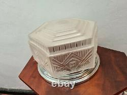 Ceiling Lamp Art Deco Depolished Glass Lalique Unsigned 1930