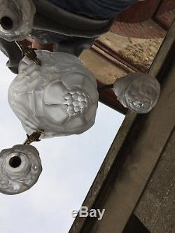 Chandelier Glass Paste 1930 Art Deco Signed Degué