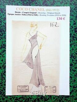 Chanel Very Rare Original Sketch Ink Era Roaring Twenties No. 162
