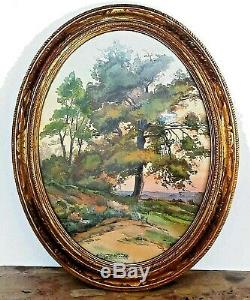 Charming Old Watercolor Signed. Landscape In Art Deco Beautiful Oval Frame
