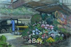 Charming Picture Old Dock Lively Parisian Florist Kiosk Traction Signed