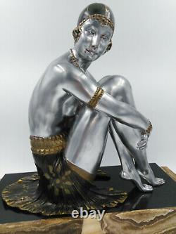 Chiparus Sculpture 1930 Art-deco Elegant Female Nude Lady Dancer 46cm Lullier
