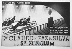 Circa 1935 Rare Signed Lamp Claude Lumiere Paz & Silva Dlg Perzel Art Deco