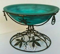 Cup Cauldron Art Nouveau / Deco Muller Freres Luneville Mount Wrought Iron Signed