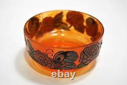 Cup Glass Enamelled Art Deco Flowers Butterflies Signed J. Valette 1920 Diam 12,5cm