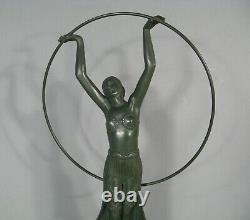 Dancer Au Cerceau Sculpture Ancienne Style Art Deco Regulated Signed Charles