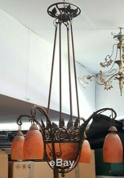 Daum Nancy 1940's Luster Iron Forge Pate De Verre Sign Art Deco Lamp Tulips Art