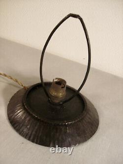 Daum Nancy Art Deco Nightlight Lamp In Wrought Iron - Tulip Signed Glass Paste