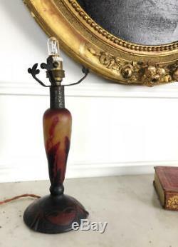 Daum Nancy D'era Lamp Foot Art Deco Glass Multilayer Signed 22cm H