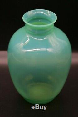 Daum Nancy Glass Vase Opaline Old Antique Vaseline Glass Art Deco Sign