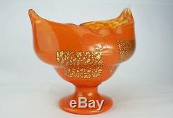 Daum Nancy Vase Large Glass Powder Inclusions Gold Cup Art Deco Signed