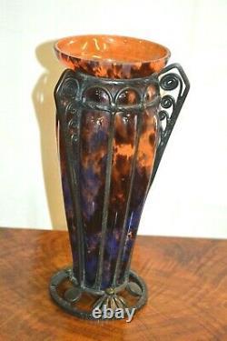 Deco Glass Paste And Wrought Iron Vase By Delatte Nancy Art Deco
