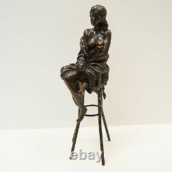 Demoiselle Statue Sculpture Sexy Style Art Deco Art Nouveau Bronze Massive