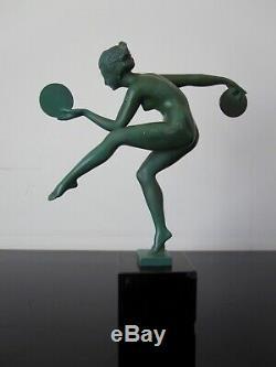 Derenne Old Woman Dancer Statuette. Art Deco. Max Le Verrier. Signed