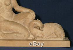 Diana, Clay Sculpture, Laveysse, Süßes Brothers, Old Art Deco Statue