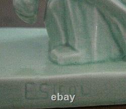 E. Sielg Beautiful Ceramic Sculpture Cracked Art-deco Lioness Huntress