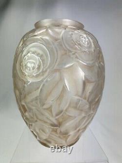 Elegant Vase Art Deco Sign Arvers Glass Patina Andre Delatte 1925 Perfect State