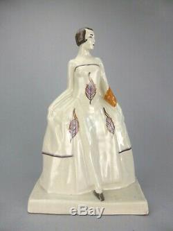Elegant Woman Figurine Statue Art Deco Tile Cracked Sign Baucour