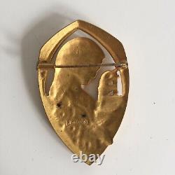 Enamelled Brooch Signed E. Bouillot Woman Art Nouveau / Art Deco Ancient Jewelry