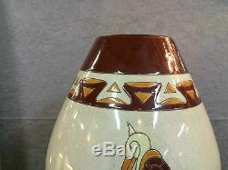 Enamelled Ceramic Vase Art Deco Style Decor Of Birds (signed And Numbered)