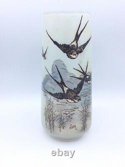 Enamelled Stained Blown Glass Vase With Swallow Decoration Signed Jem Art Deco