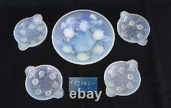 Etling France Coupe And 4 Glass Cups Opalescent Art Deco Signed Ca 1920/30
