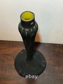 Foot Lampe Art Deco En Pate De Verre, Signed Muller Freres Luneville, Vase
